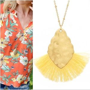 Yellow fanned Tassel gold hammered pendant